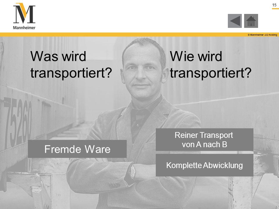15 © Mannheimer AG Holding Fremde Ware Reiner Transport von A nach B Komplette Abwicklung Was wird transportiert? Wie wird transportiert?