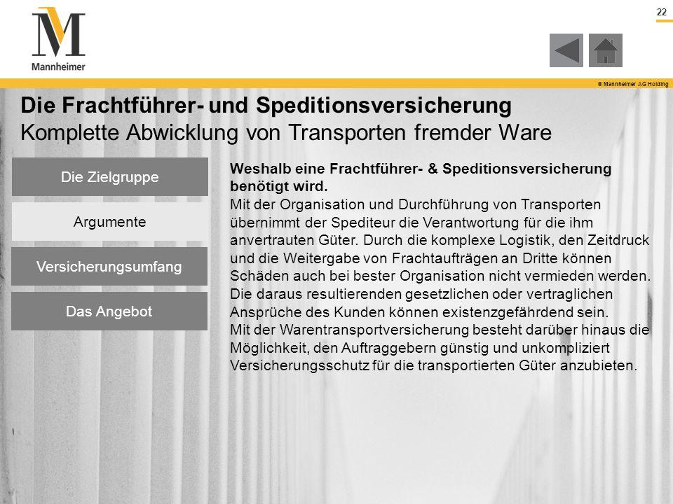 22 © Mannheimer AG Holding Die Zielgruppe Argumente Versicherungsumfang Das Angebot Die Frachtführer- und Speditionsversicherung Komplette Abwicklung