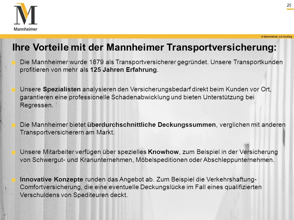 25 © Mannheimer AG Holding Ihre Vorteile mit der Mannheimer Transportversicherung: Die Mannheimer wurde 1879 als Transportversicherer gegründet. Unser