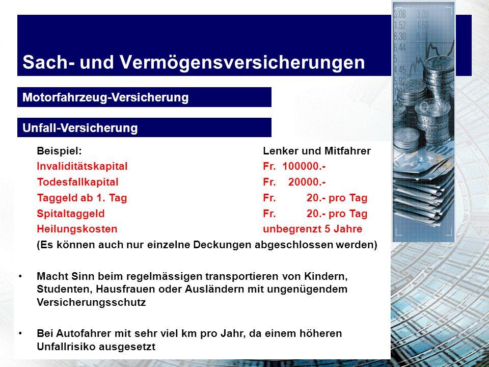 Sach- und Vermögensversicherungen Motorfahrzeug-Versicherung Beispiel:Lenker und Mitfahrer Invaliditätskapital Fr. 100000.- TodesfallkapitalFr. 20000.