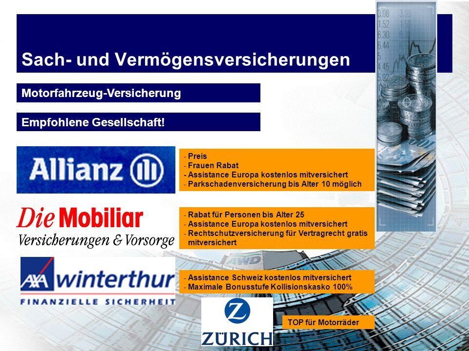 Sach- und Vermögensversicherungen Motorfahrzeug-Versicherung - Preis - Frauen Rabat - Assistance Europa kostenlos mitversichert - Parkschadenversicher