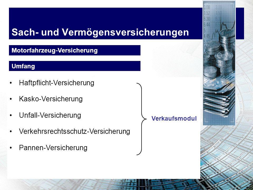 Sach- und Vermögensversicherungen Motorfahrzeug-Versicherung Haftpflicht-Versicherung Kasko-Versicherung Unfall-Versicherung Verkehrsrechtsschutz-Vers