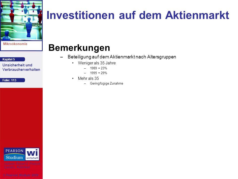 Kapitel 5 Mikroökonomie Autoren: Robert S. Pindyck Daniel L. Rubinfeld Unsicherheit und Verbraucherverhalten © Pearson Studium 2009 Folie: 113 Investi