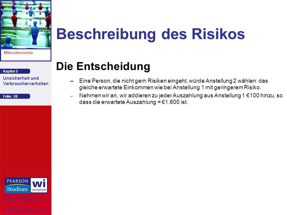 Kapitel 5 Mikroökonomie Autoren: Robert S. Pindyck Daniel L. Rubinfeld Unsicherheit und Verbraucherverhalten © Pearson Studium 2009 Folie: 28 Beschrei