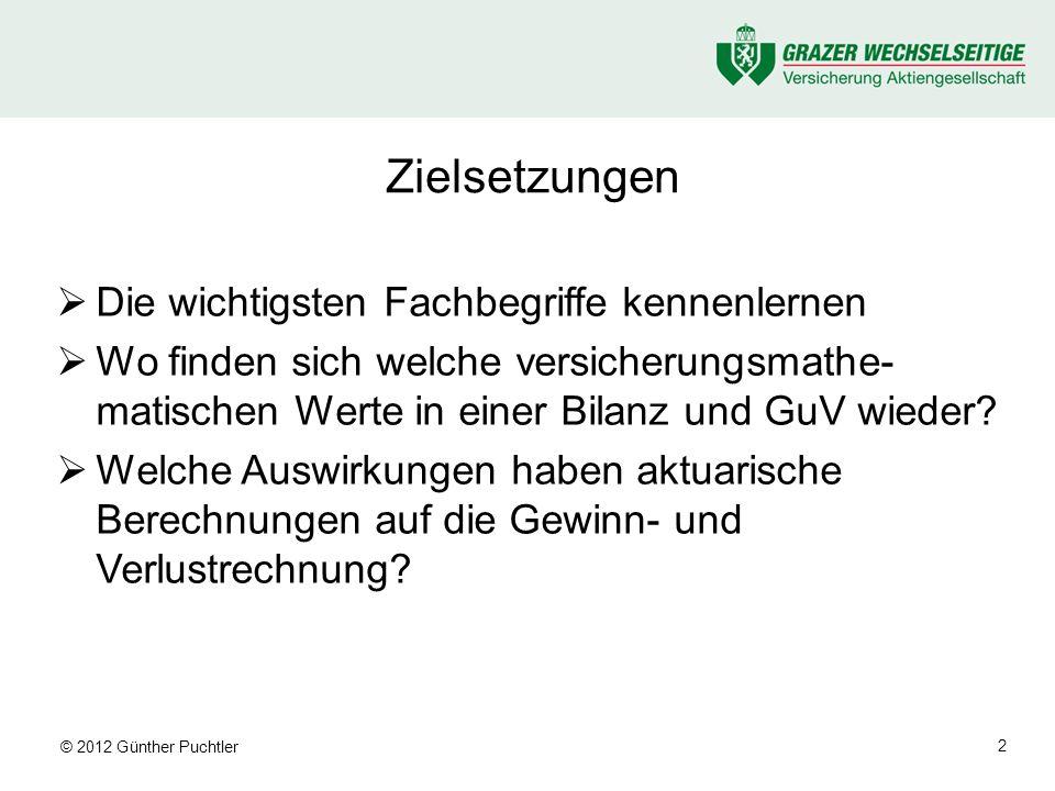 © 2012 Günther Puchtler 3 Buchhaltungs-Grundbegriffe (1) Bilanz := Gegenüberstellung von Guthaben und Verbindlichkeiten zu einem Stichtag –Aktiva (Soll, links): investiertes Vermögen (Guthaben) –Passiva (Haben, rechts): Eigen- und Fremdkapital (Verbindlichkeiten) balance sheet assets (debit) liabilities (credit)