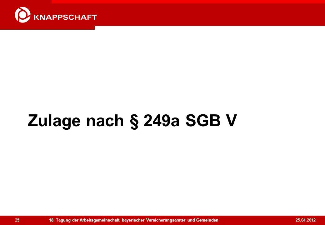 25 25.04.2012 18. Tagung der Arbeitsgemeinschaft bayerischer Versicherungsämter und Gemeinden Zulage nach § 249a SGB V