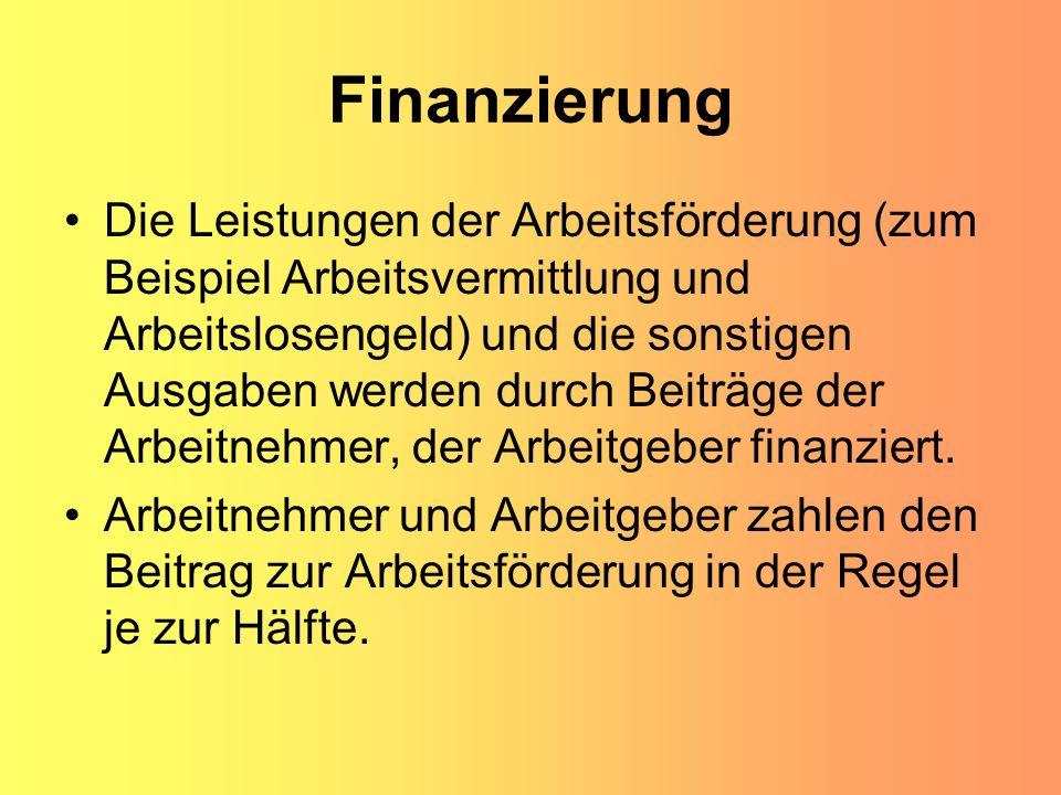 Finanzierung Die Leistungen der Arbeitsförderung (zum Beispiel Arbeitsvermittlung und Arbeitslosengeld) und die sonstigen Ausgaben werden durch Beiträ