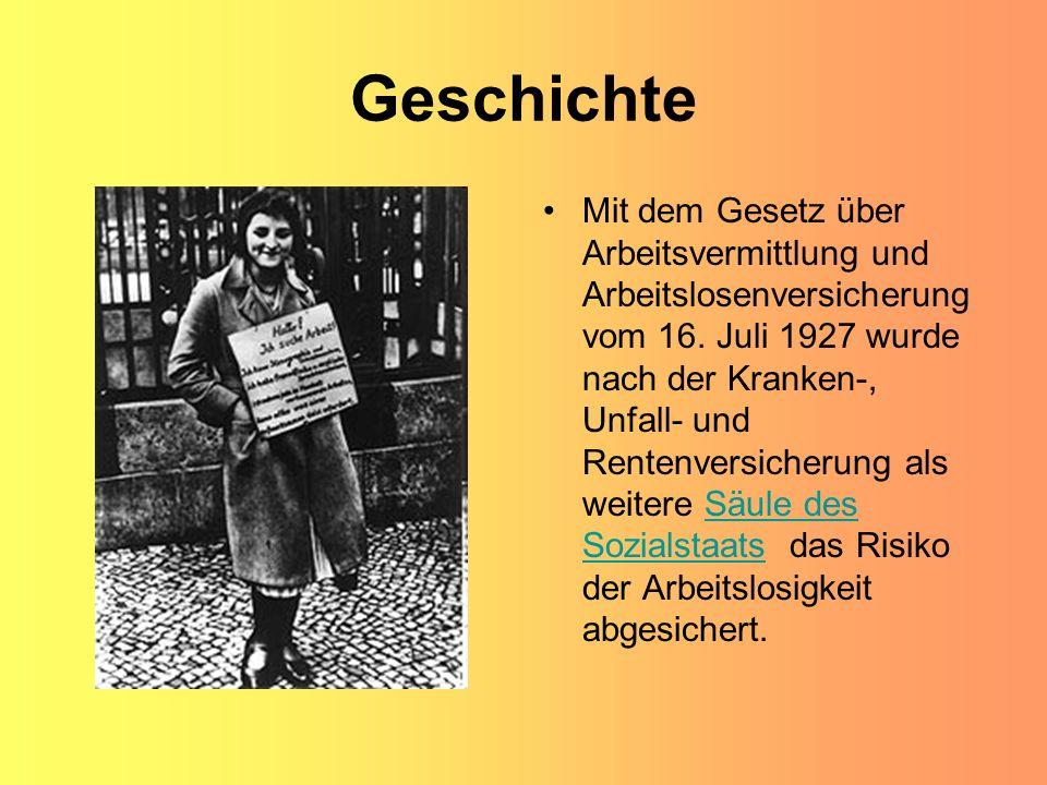 Geschichte Mit dem Gesetz über Arbeitsvermittlung und Arbeitslosenversicherung vom 16. Juli 1927 wurde nach der Kranken-, Unfall- und Rentenversicheru