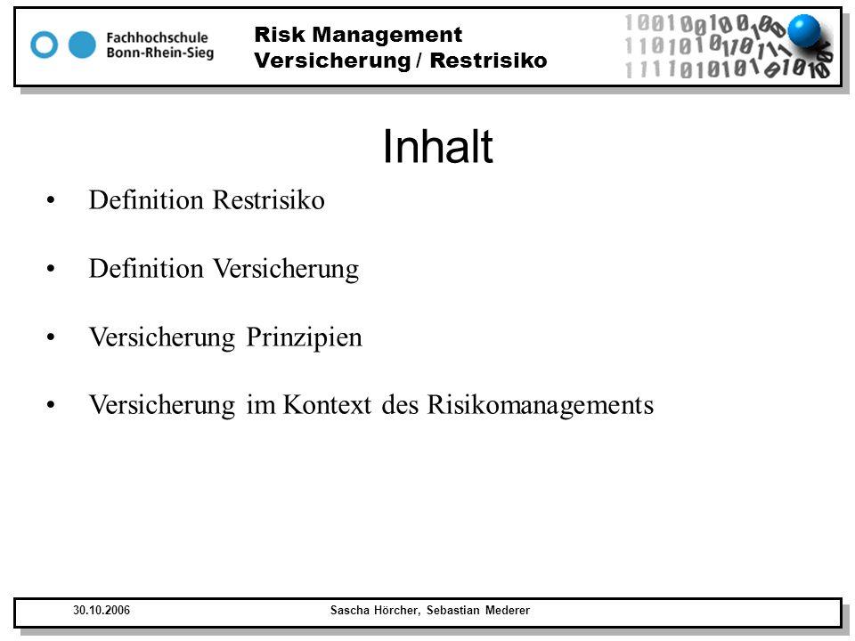 Risk Management Versicherung / Restrisiko 30.10.2006Sascha Hörcher, Sebastian Mederer Definition Restrisiko Als Restrisiko wird die Gefährdung bezeichnet die einer Tätigkeit, einer Methode, einem Verfahren, einem technischen Prozess nach dem Stand der Wissenschaft, nach allen möglichen Vorkehrungen noch anhaftet