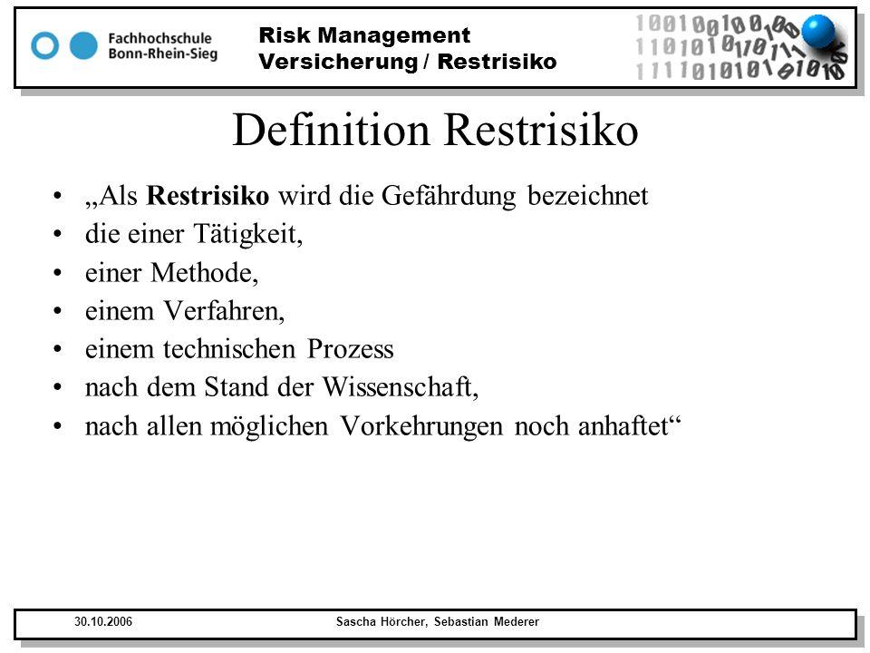 Risk Management Versicherung / Restrisiko 30.10.2006Sascha Hörcher, Sebastian Mederer Restrisiko Restrisiko besteht in: –Unvorhersehbaren Störfällen –Kombination von unglücklichen Umständen –Menschliches Versagen Restrisiko wird bei der Risikobetrachtung herangezogen und gegen die möglichen Schäden und ihre Eintrittswahrscheinlichkeit abgewogen