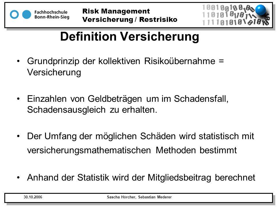 Risk Management Versicherung / Restrisiko 30.10.2006Sascha Hörcher, Sebastian Mederer Definition Versicherung Grundprinzip der kollektiven Risikoübern