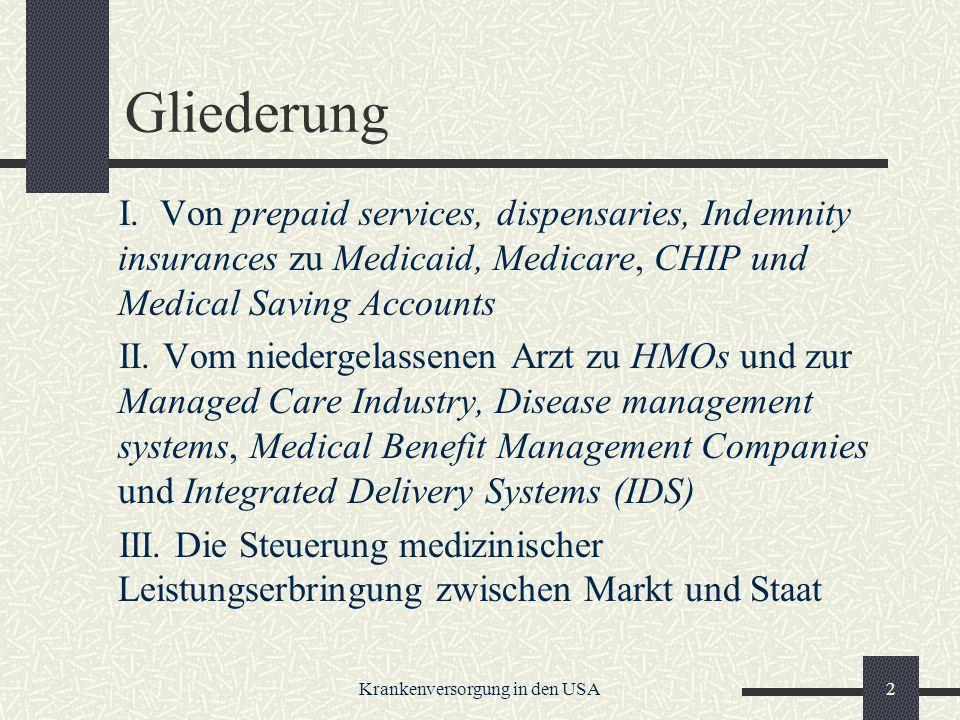 Krankenversorgung in den USA2 Gliederung I.