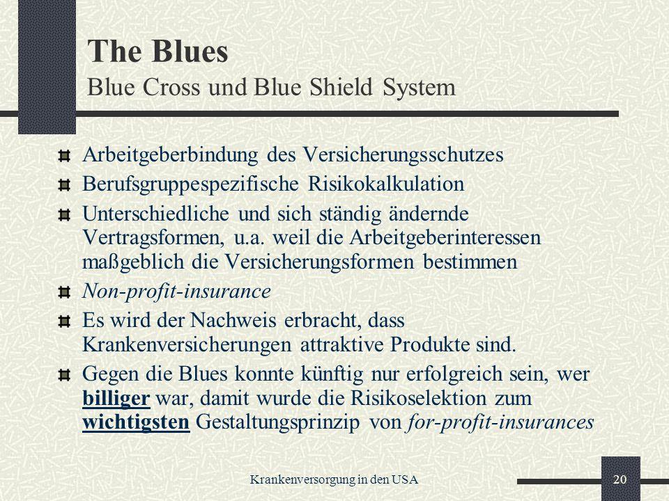 Krankenversorgung in den USA20 The Blues Blue Cross und Blue Shield System Arbeitgeberbindung des Versicherungsschutzes Berufsgruppespezifische Risikokalkulation Unterschiedliche und sich ständig ändernde Vertragsformen, u.a.