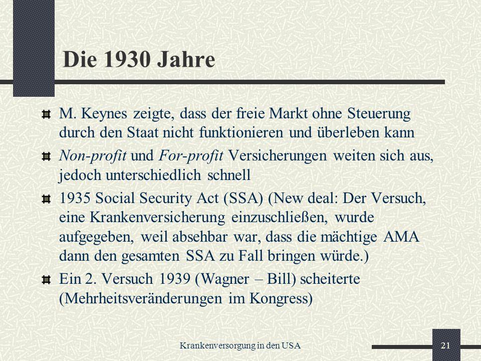 Krankenversorgung in den USA21 Die 1930 Jahre M.
