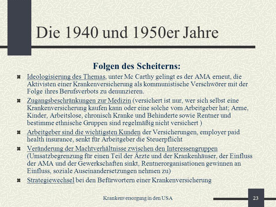 Krankenversorgung in den USA23 Die 1940 und 1950er Jahre Folgen des Scheiterns: Ideologisierung des Themas, unter Mc Carthy gelingt es der AMA erneut, die Aktivisten einer Krankenversicherung als kommunistische Verschwörer mit der Folge ihres Berufsverbots zu denunzieren.