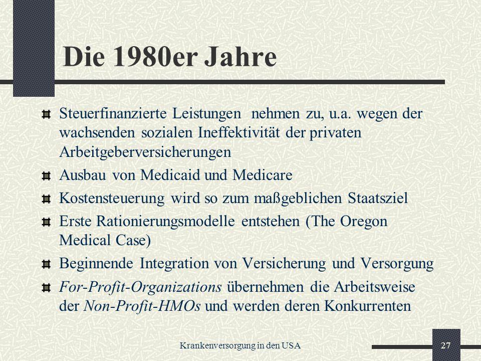Krankenversorgung in den USA27 Die 1980er Jahre Steuerfinanzierte Leistungen nehmen zu, u.a.
