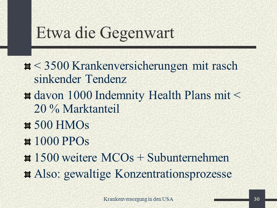 Krankenversorgung in den USA30 Etwa die Gegenwart < 3500 Krankenversicherungen mit rasch sinkender Tendenz davon 1000 Indemnity Health Plans mit < 20 % Marktanteil 500 HMOs 1000 PPOs 1500 weitere MCOs + Subunternehmen Also: gewaltige Konzentrationsprozesse