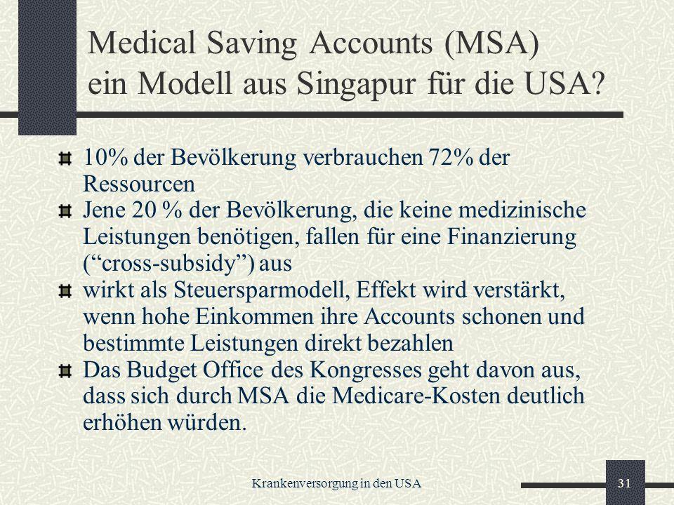 Krankenversorgung in den USA31 Medical Saving Accounts (MSA) ein Modell aus Singapur für die USA.