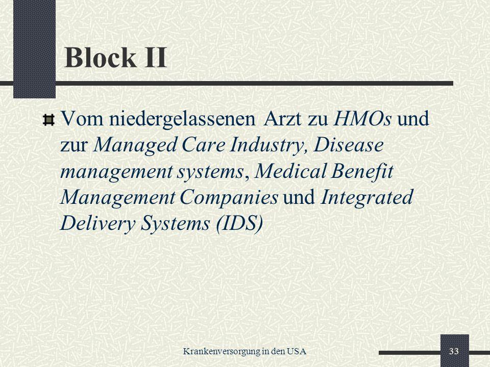 Krankenversorgung in den USA33 Block II Vom niedergelassenen Arzt zu HMOs und zur Managed Care Industry, Disease management systems, Medical Benefit Management Companies und Integrated Delivery Systems (IDS)