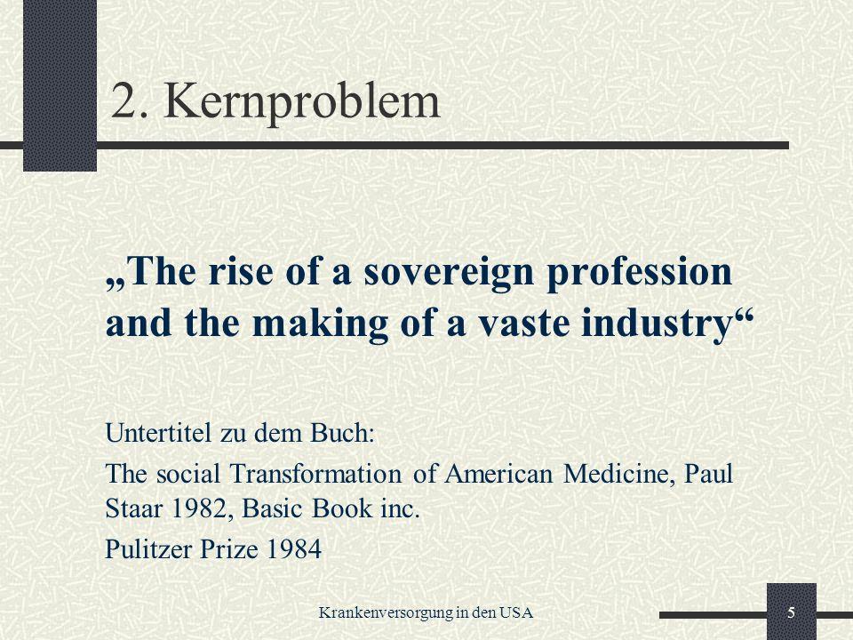Krankenversorgung in den USA16 Chronologie des Scheiterns (II) 1917 scheitert das Modellgesetz der ALL an 3 Gegnern: 1.