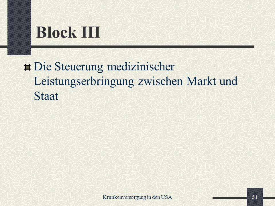 Krankenversorgung in den USA51 Block III Die Steuerung medizinischer Leistungserbringung zwischen Markt und Staat