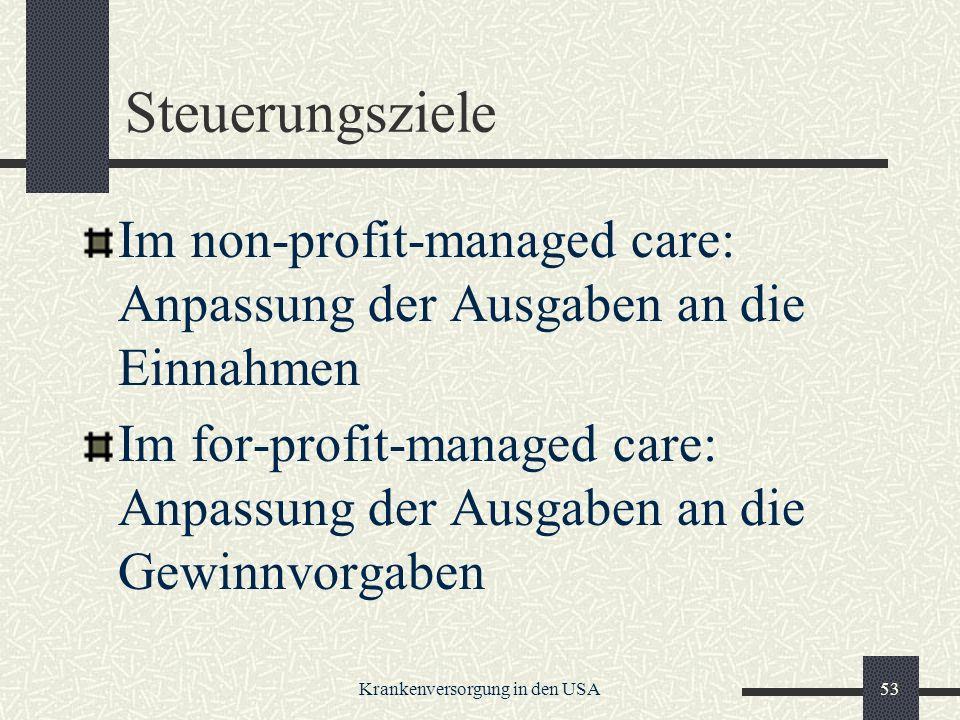 Krankenversorgung in den USA53 Steuerungsziele Im non-profit-managed care: Anpassung der Ausgaben an die Einnahmen Im for-profit-managed care: Anpassung der Ausgaben an die Gewinnvorgaben