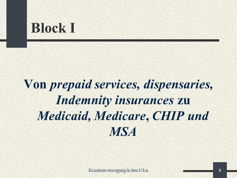 Krankenversorgung in den USA8 Block I Von prepaid services, dispensaries, Indemnity insurances zu Medicaid, Medicare, CHIP und MSA