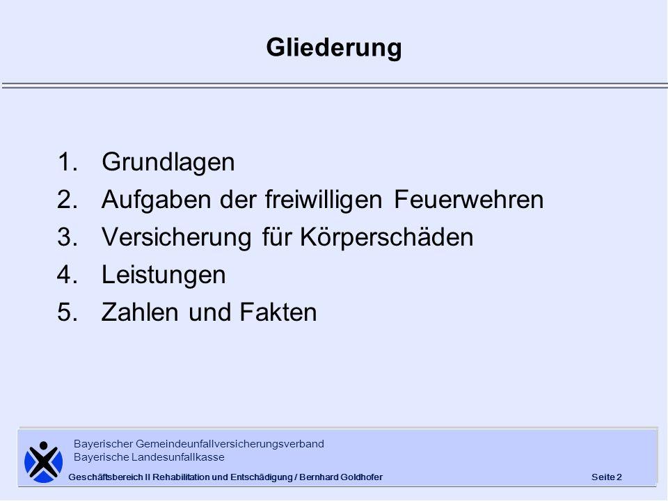 Bayerischer Gemeindeunfallversicherungsverband Bayerische Landesunfallkasse Seite 2 Geschäftsbereich II Rehabilitation und Entschädigung / Bernhard Go
