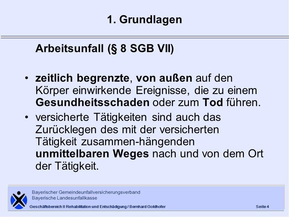 Bayerischer Gemeindeunfallversicherungsverband Bayerische Landesunfallkasse Seite 25 Geschäftsbereich II Rehabilitation und Entschädigung / Bernhard Goldhofer 4.2 Mehrleistungen 4.2.2 Mehrleistungen zur Rente werden für die Dauer der Rente bezahlt, gestaffelt nach der jeweiligen MdE (100 % = 594,00 EUR; 20 % = 118,80 EUR) einmalige Entschädigung zur Rente in Höhe von 30.000 EUR, wenn MdE mindestens 80 % beträgt und wegen des Arbeitsunfalls eine Erwerbstätigkeit nicht mehr ausgeübt werden kann.