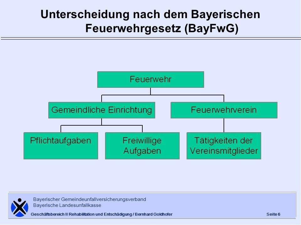 Bayerischer Gemeindeunfallversicherungsverband Bayerische Landesunfallkasse Seite 6 Geschäftsbereich II Rehabilitation und Entschädigung / Bernhard Go