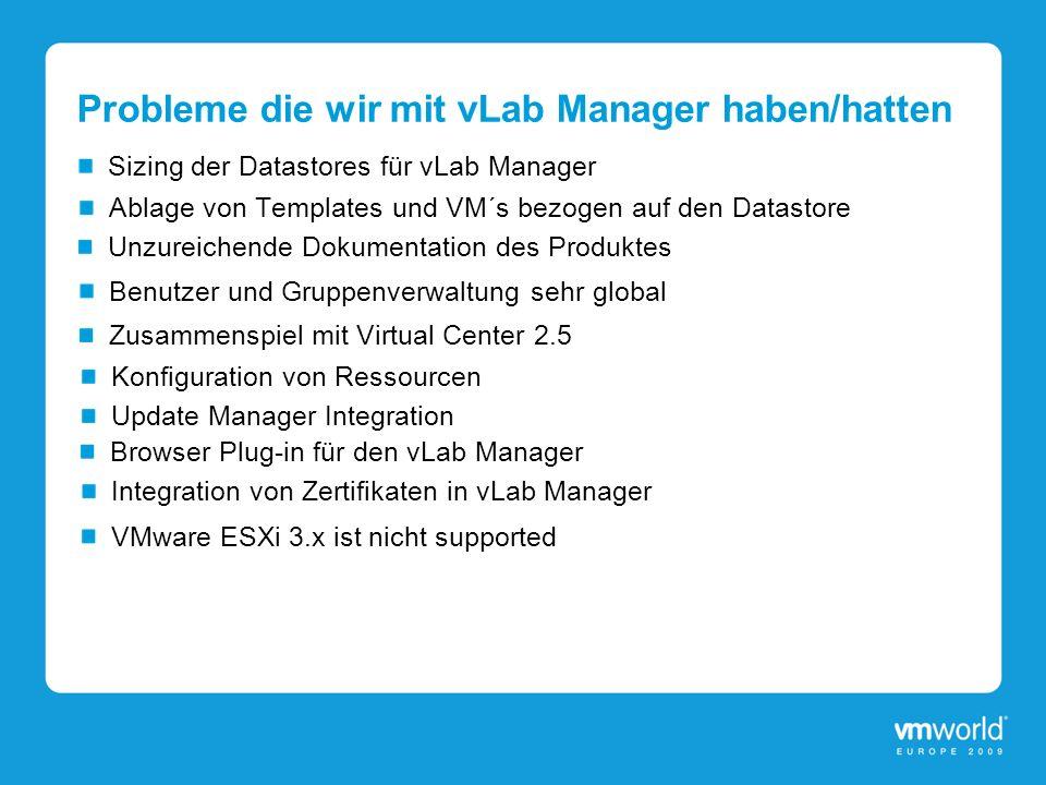 Probleme die wir mit vLab Manager haben/hatten Sizing der Datastores für vLab Manager Ablage von Templates und VM´s bezogen auf den Datastore Benutzer