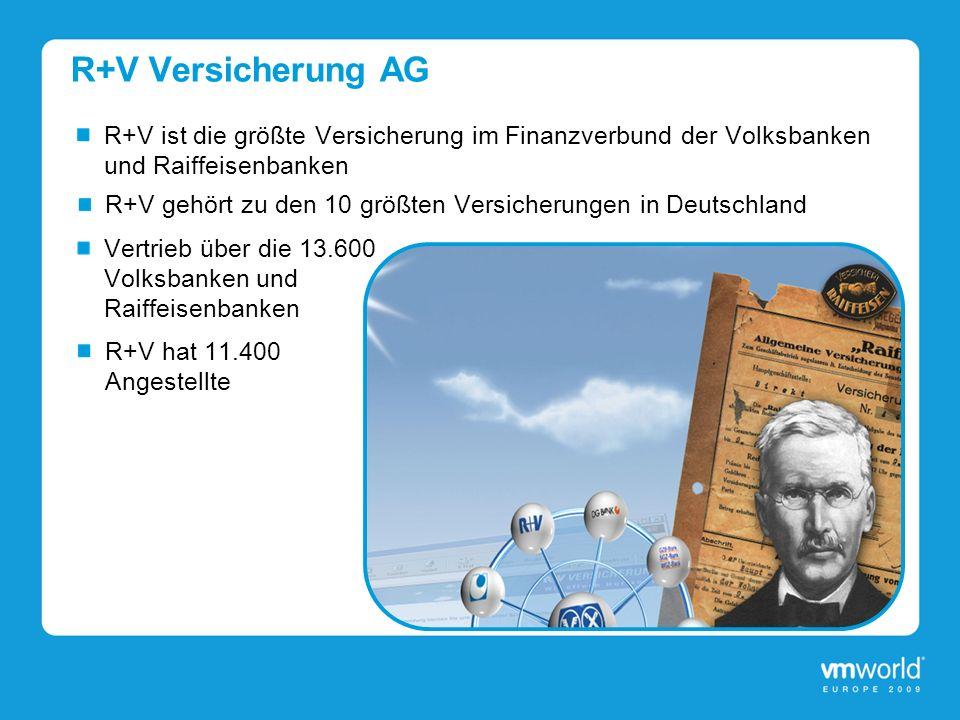 R+V Versicherung AG R+V ist die größte Versicherung im Finanzverbund der Volksbanken und Raiffeisenbanken R+V gehört zu den 10 größten Versicherungen