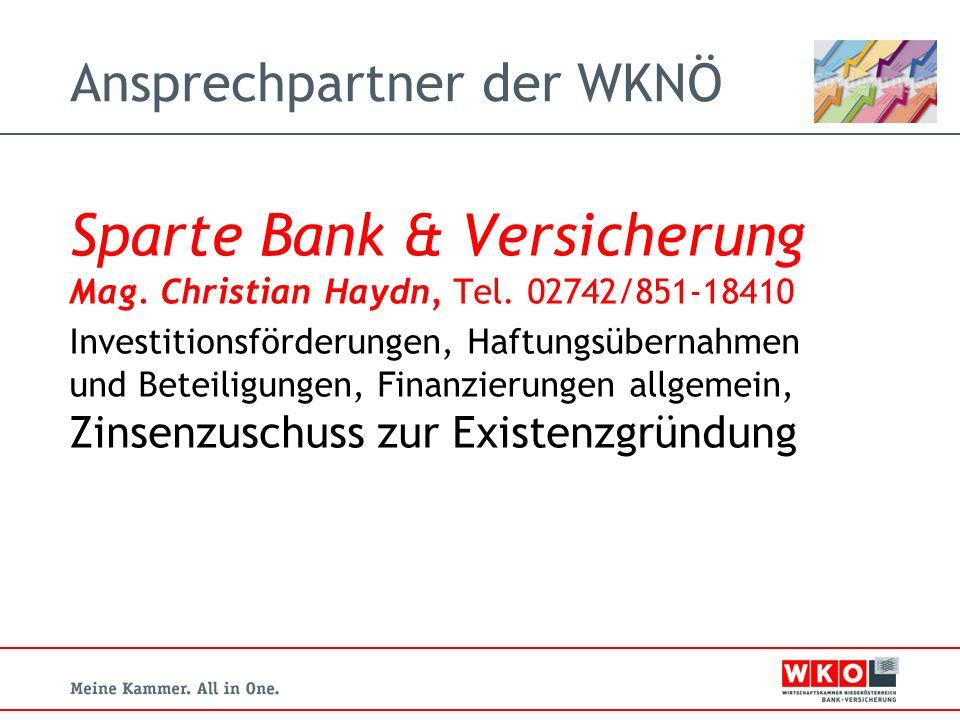 Ansprechpartner der WKNÖ Sparte Bank & Versicherung Mag.
