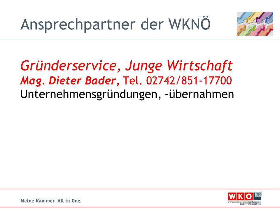Ansprechpartner der WKNÖ Gründerservice, Junge Wirtschaft Mag.