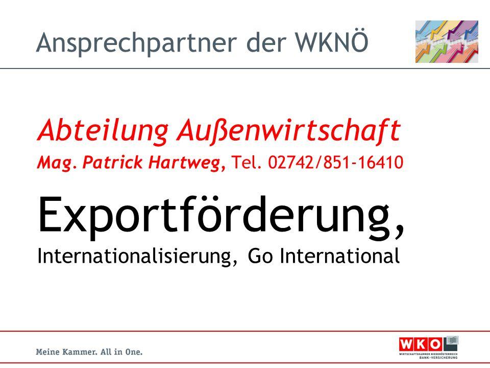 Ansprechpartner der WKNÖ Abteilung Außenwirtschaft Mag.