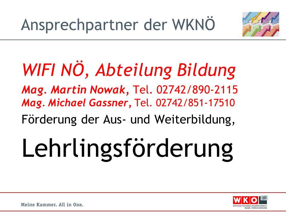 Ansprechpartner der WKNÖ WIFI NÖ, Abteilung Bildung Mag.