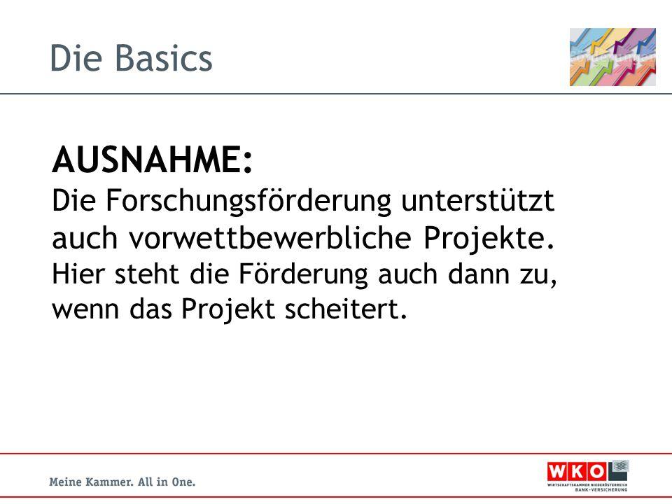 Die Basics AUSNAHME: Die Forschungsförderung unterstützt auch vorwettbewerbliche Projekte.