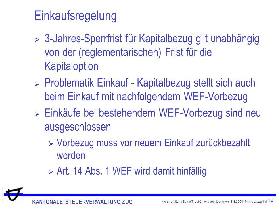 KANTONALE STEUERVERWALTUNG ZUG 14 Veranstaltung Zuger Treuhändervereinigung vom 5.5.2004 / Mario Lazzarini Einkaufsregelung 3-Jahres-Sperrfrist für Kapitalbezug gilt unabhängig von der (reglementarischen) Frist für die Kapitaloption Problematik Einkauf - Kapitalbezug stellt sich auch beim Einkauf mit nachfolgendem WEF-Vorbezug Einkäufe bei bestehendem WEF-Vorbezug sind neu ausgeschlossen Vorbezug muss vor neuem Einkauf zurückbezahlt werden Art.