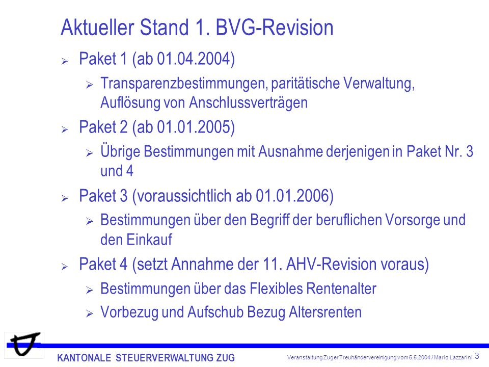 KANTONALE STEUERVERWALTUNG ZUG 3 Veranstaltung Zuger Treuhändervereinigung vom 5.5.2004 / Mario Lazzarini Aktueller Stand 1.