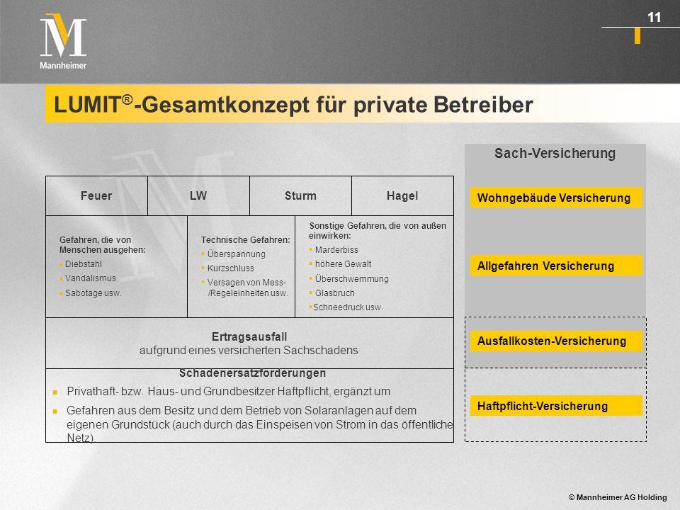 © Mannheimer AG Holding 12 LUMIT ® für gewerbliche Betreiber von Solaranlagen auf fremden Grundstücken bzw.