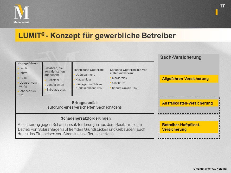© Mannheimer AG Holding 18 LUMIT ® für Installateure und Anbieter von Solaranlagen