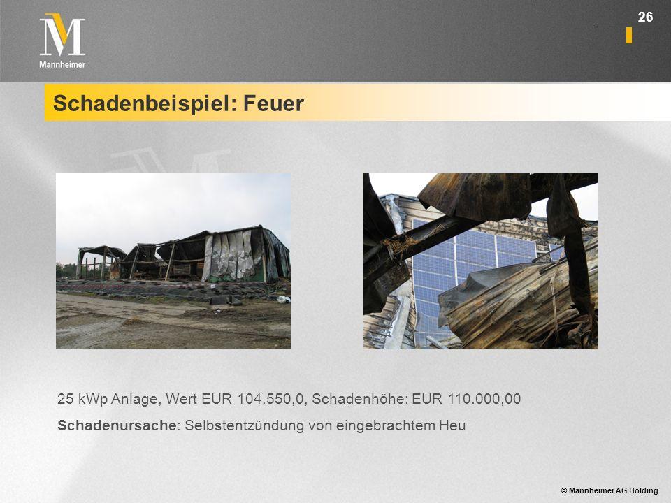 © Mannheimer AG Holding 27 Schadenbeispiel: Schneelast Neuschnee taute während des Tages an.