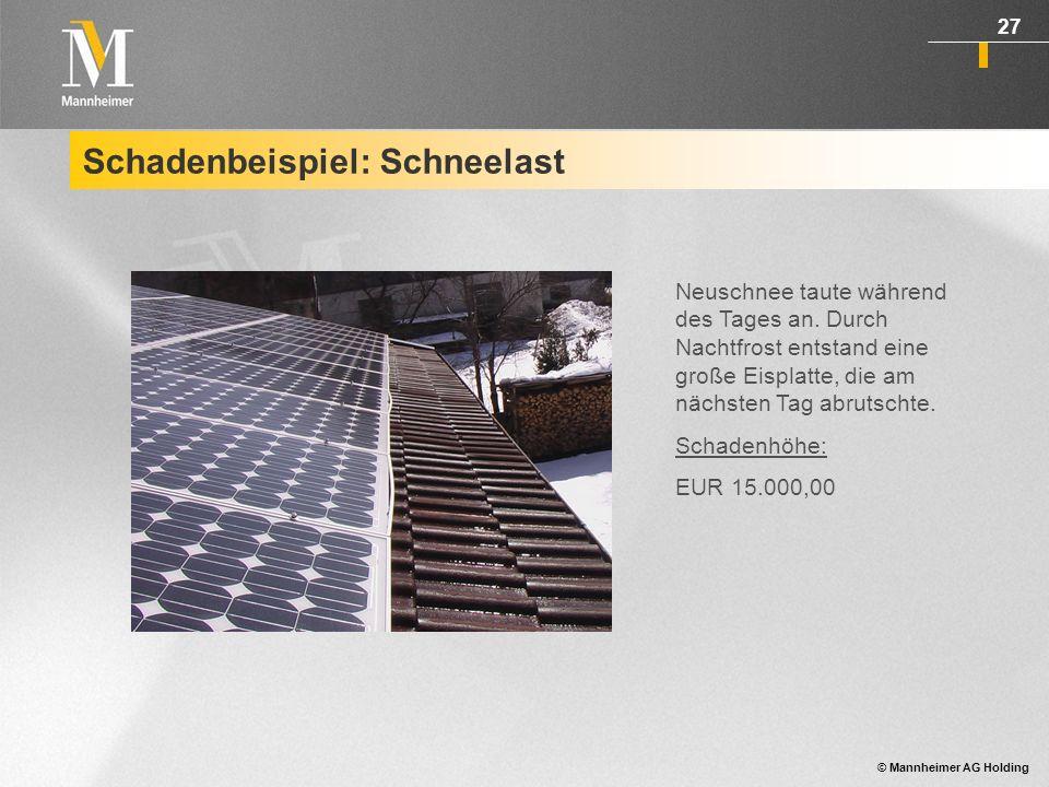 © Mannheimer AG Holding 28 Schadenbeispiel: Diebstahl Diebstahl von Modulen einer Bodenanlage.