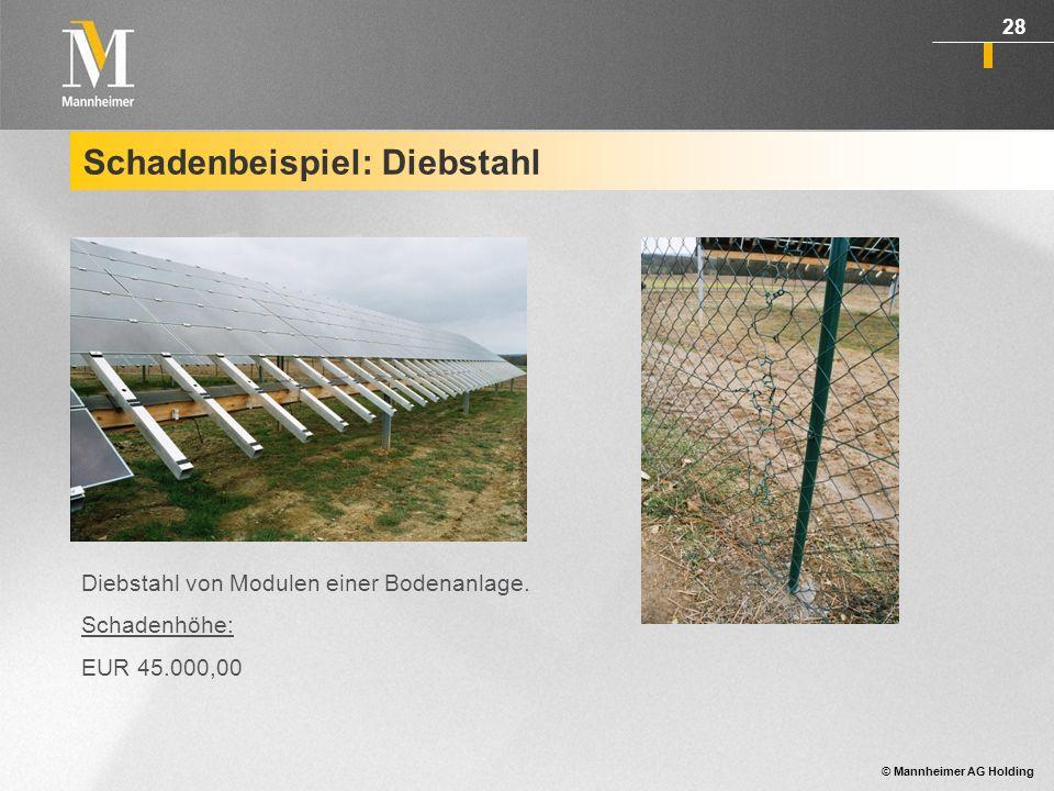© Mannheimer AG Holding 29 Schadenbeispiel: Sturmschaden Dachanlage Sturmschaden Lothar beschädigte Module und riss einzelne vom Dach Schadenhöhe: EUR 28.000 inkl.