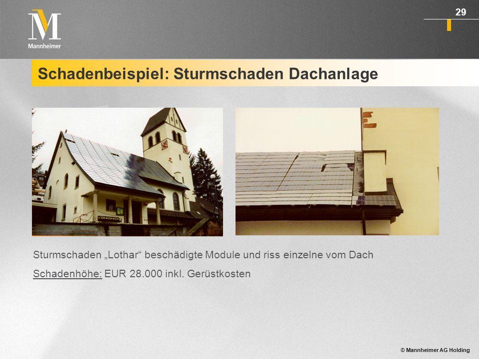 © Mannheimer AG Holding 30 Schadenbeispiel: Sturmschaden Bodenanlage Modulkonstruktion einer aufgeständerten PV- Anlage wurde durch Sturm von der Bodenverankerung abgerissen.