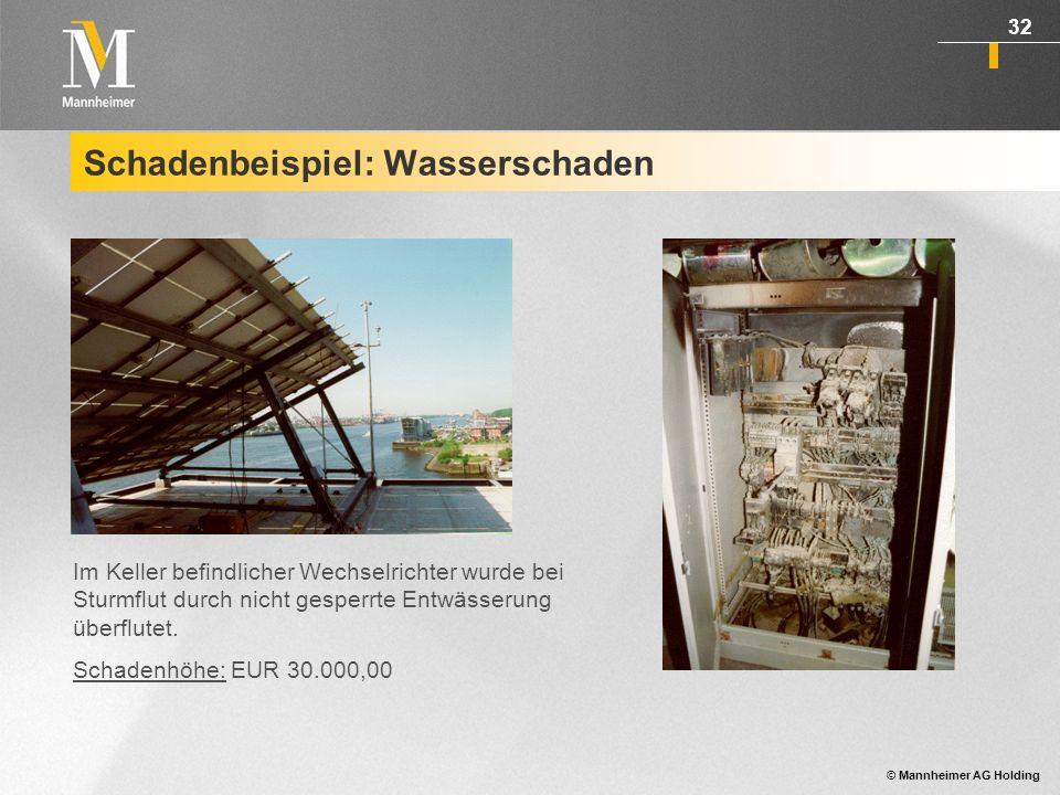 © Mannheimer AG Holding 32 Schadenbeispiel: Wasserschaden Im Keller befindlicher Wechselrichter wurde bei Sturmflut durch nicht gesperrte Entwässerung