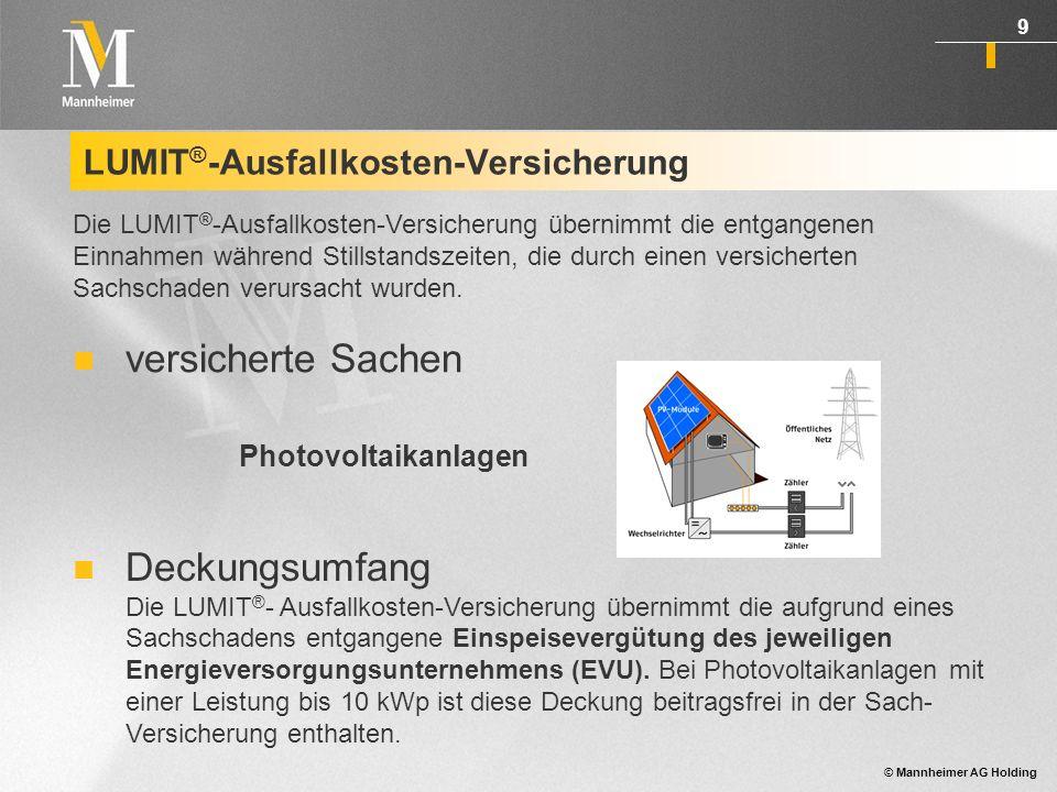 © Mannheimer AG Holding 10 LUMIT ® -Haftpflicht-Versicherung Deckungsumfang Basis-Haftpflichtdeckung: Privathaft- bzw.
