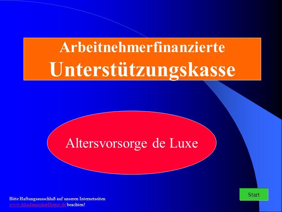 Arbeitnehmerfinanzierte Unterstützungskasse Altersvorsorge de Luxe Start Bitte Haftungsausschluß auf unseren Internetseiten www.AkademischerDienst.de