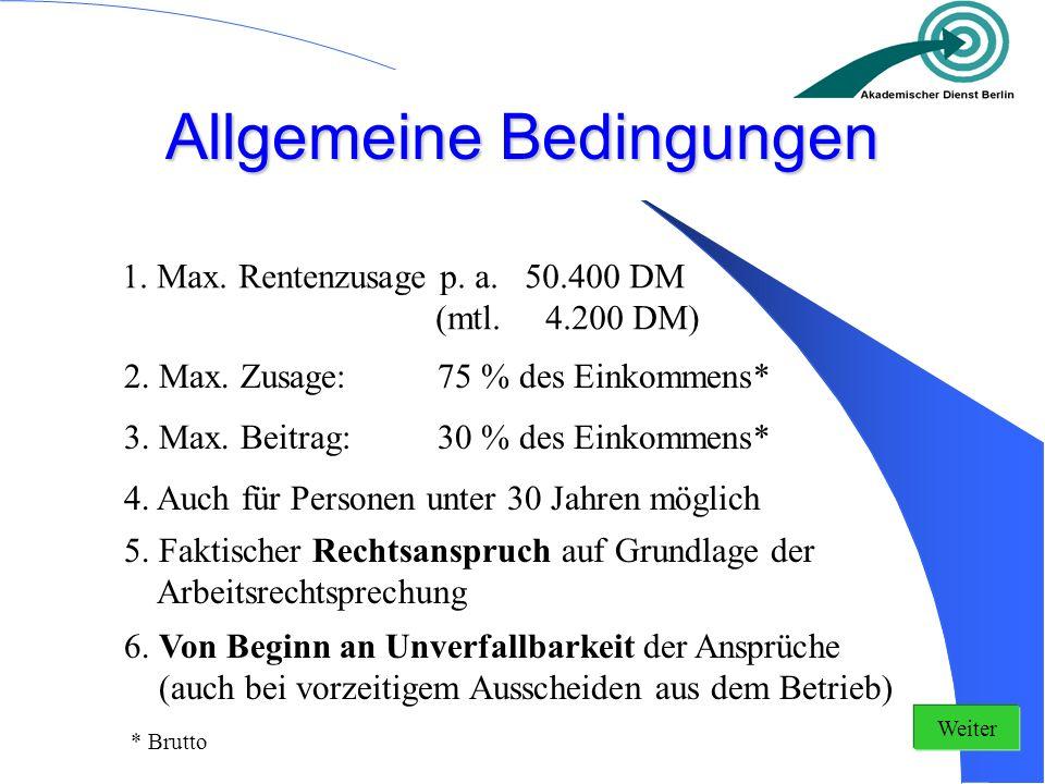 Allgemeine Bedingungen 1. Max. Rentenzusage p. a. 50.400 DM (mtl. 4.200 DM) 2. Max. Zusage:75 % des Einkommens* 3. Max. Beitrag:30 % des Einkommens* 4