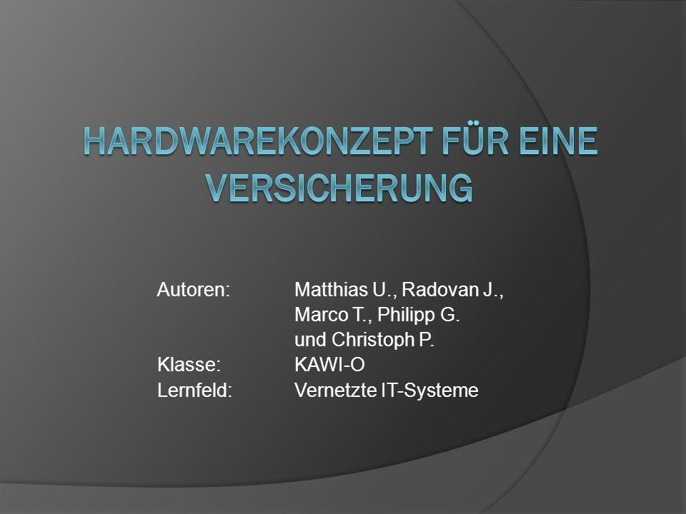 Autoren:Matthias U., Radovan J., Marco T., Philipp G. und Christoph P. Klasse: KAWI-O Lernfeld: Vernetzte IT-Systeme